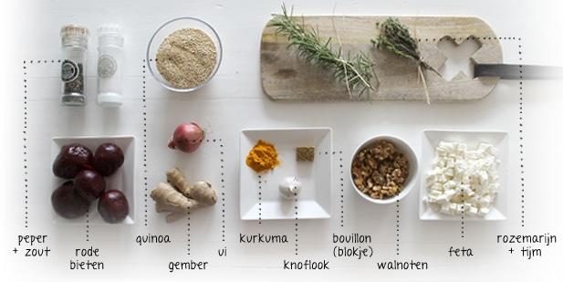 Ingredienten rode bieten salade