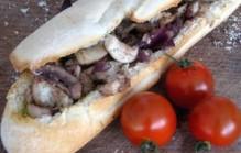 Gevuld stokbrood met champignons