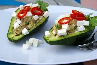 Avocado gevuld met sardines