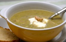 Pesto soep met garnalen