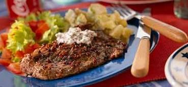 Gepeperde rib-eye steak met brandy