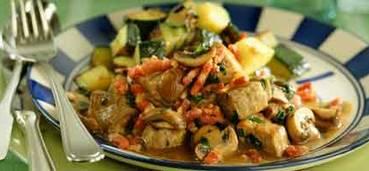 Franse varkenslapjes met champignons en spekjes