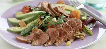 Lauwwarme salade van lamshaas