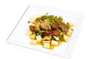 Varkensvlees met doperwten op zijn Portugees