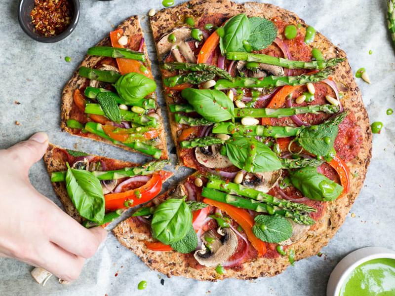Pizzabodem van bloemkool (vegan)