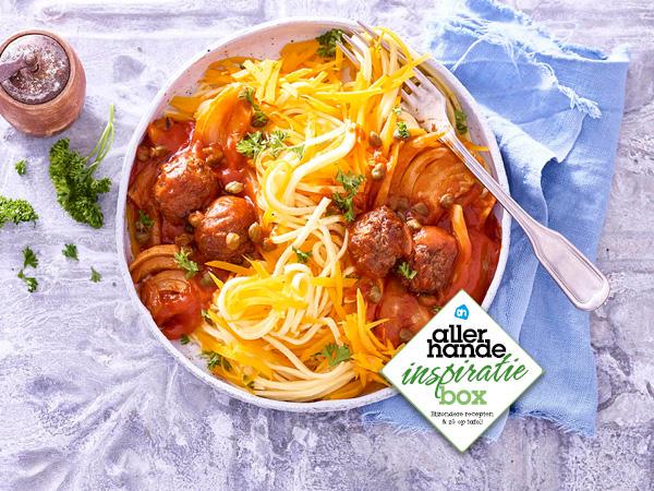 Pompoen spaghetti met venkel en vegaballetjes