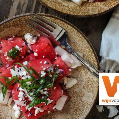 Salade van watermeloen en feta - recept