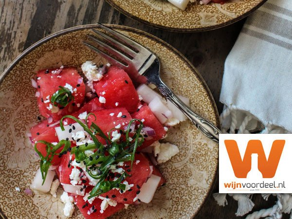Salade van watermeloen en feta