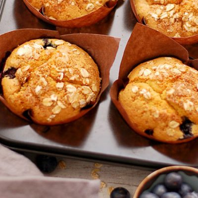 Citroen bosbessen muffins, lemon blueberry muffins recept