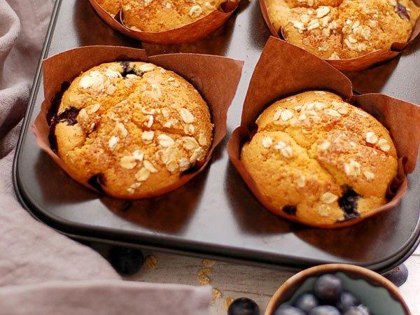 Citroen bosbessen muffins